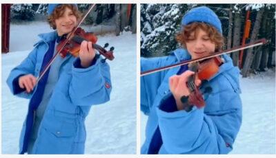 Cătălin Advahov cu vioara, în inima munților înzăpeziți! Momente impresionante