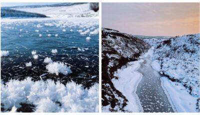 """Priveliști uimitoare în Moldova! ,,Flori de gheață"""", surprinse pe suprafața râului Răut"""