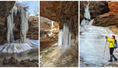 Imagini surprinzătoare! Un fotograf a surprins cascadele înghețate ale Moldovei