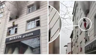 Imagini dramatice! O mamă și-a aruncat cei patru copii pe fereastră în timpul incendiului care le-a cuprins apartamentul