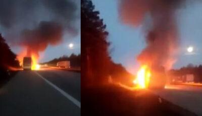 Un microbuz din Republica Moldova a luat foc pe o stradă din Germania