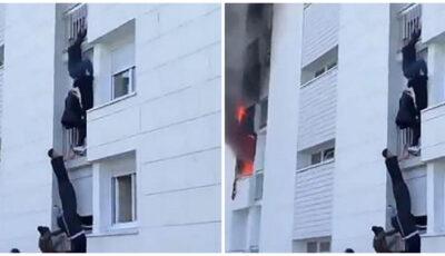 Mai mulţi bărbați au făcut un lanţ uman şi s-au căţărat pe faţada unei clădiri pentru a salva o familie dintr-un incendiu, în Franţa