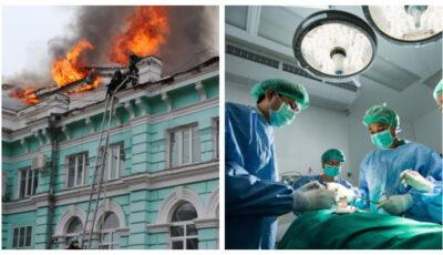Opt chirurgi au continuat o operație pe cord deschis, în timp ce spitalul era înghițit de flăcări