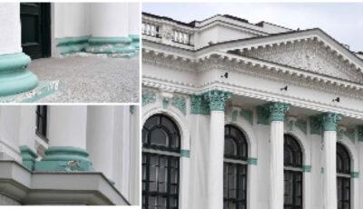 Fațada Sălii cu Orgă, reparată cu un milion de euro, se dărâmă