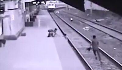 Video! Copil salvat din faţa trenului, în ultima secundă