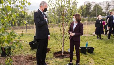 Maia Sandu și președintele Lituaniei, Gitanas Nauseda, au plantat doi copaci la Grădina Botanică