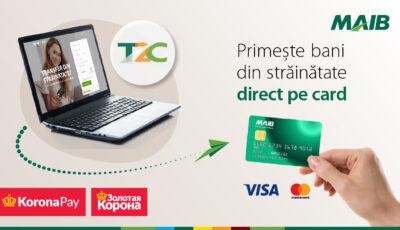Moldova Agroindbank și Zolotaya Korona lansează serviciul de transfer de bani din străinătate direct pe card