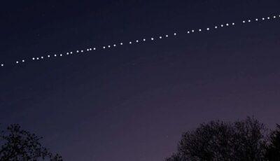 Aseară, deasupra Moldovei, au putut fi văzuți sateliții lui Elon Musk. Moldovenii au rămas încântați