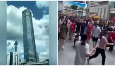 Video! Panică în China, după ce un zgârie-nori a început să se clatine puternic. Oamenii fug speriați din apropierea clădirii