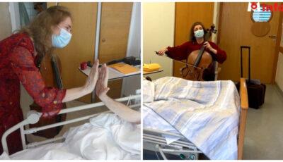O violoncelistă cântă într-un centru de îngrijiri paliative pentru a alina durerea pacienţilor aflați în stare gravă