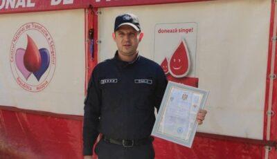 Polițistul de frontieră Andrei Canna a donat voluntar sânge de 23 de ori