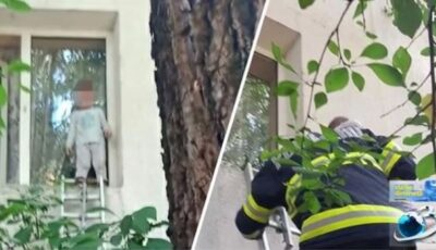 Un copil de 2 ani a ieșit pe geam și se plimba pe pervaz. Salvatorii au intervenit de urgență
