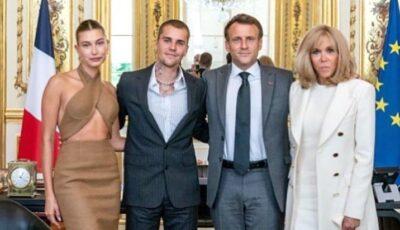 Fală mare în online pentru Justin Bieber. Artistul și soția sa, primiţi de cuplul prezidenţial Macron la Paris