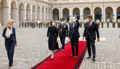 Președinta Maia Sandu, pe covorul roșu la Roma întâmpinată de Președintele Italiei