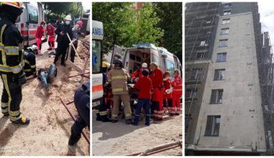 Mai mulți muncitori s-au prăbușit de pe schelele instalate la etajul 9 al unui bloc în construcție de pe strada Trandafirilor