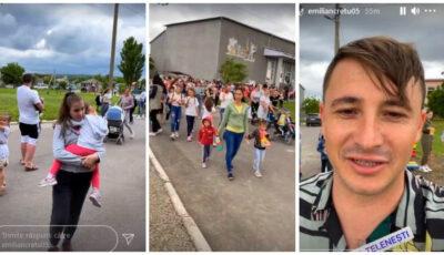 Video! Emilian Crețu a inaugurat terenul de joacă pentru copii din Negureni, satul său de baștină