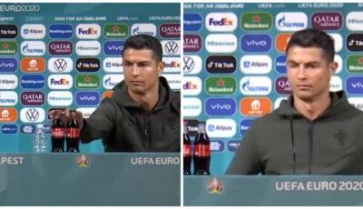 """Acțiunile Coca-Cola la bursă au scăzut cu 4 miliarde de dolari, după ce Ronaldo a mutat două sticle la o parte și a zis ,,Beți apă"""""""