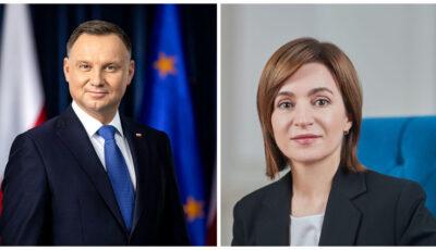 Maia Sandu va efectua luni o vizită în Polonia, la invitația oficială a Președintelui polonez