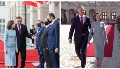Maia Sandu, întâlnire delicată și respectuoasă din partea Președintelui Poloniei, Andrzej Duda, la Varșovia
