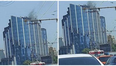 Incendiu într-un bloc de locuit din capitală. 6 echipaje de pompieri, la fața locului