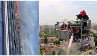 Video! Două familii, evacuate din blocul cuprins de flăcări din centrul capitalei