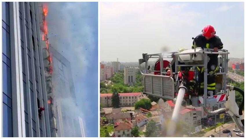 Foto: Video! Două familii, evacuate din blocul cuprins de flăcări din centrul capitalei