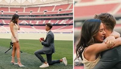 Moment plin de emoții! Un jucător de la Atletico Madrid își cere iubita în căsătorie chiar pe stadion