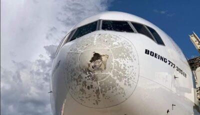 Avion distrus de grindină la Milano. Pilotul a cerut revenirea pe aeroport