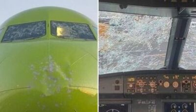 Imagini incredibile cu un avion distrus de grindină