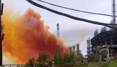 O explozie produsă la o uzină chimică din Ucraina ar putea provoca ploi acide în Moldova