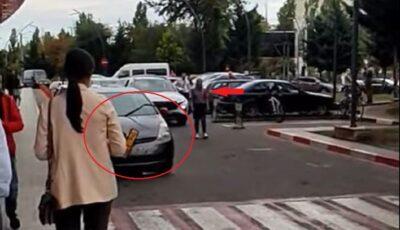O tânără a făcut o criză de isterie și a vandalizat mai multe mașini în fața unui centru comercial din Chișinău