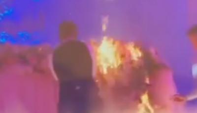 O masă cu decorațiuni a luat foc la o nuntă, într-un cunoscut local din suburbia Capitalei