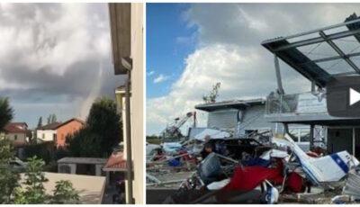 O tornadă a făcut ravagii în Italia. Șapte avioane au fost distruse