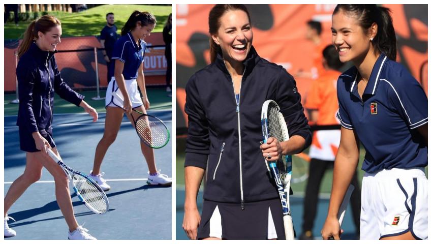 Foto: Spectaculos! Kate Middleton a jucat un meci de tenis cu tenismena Emma Răducanu
