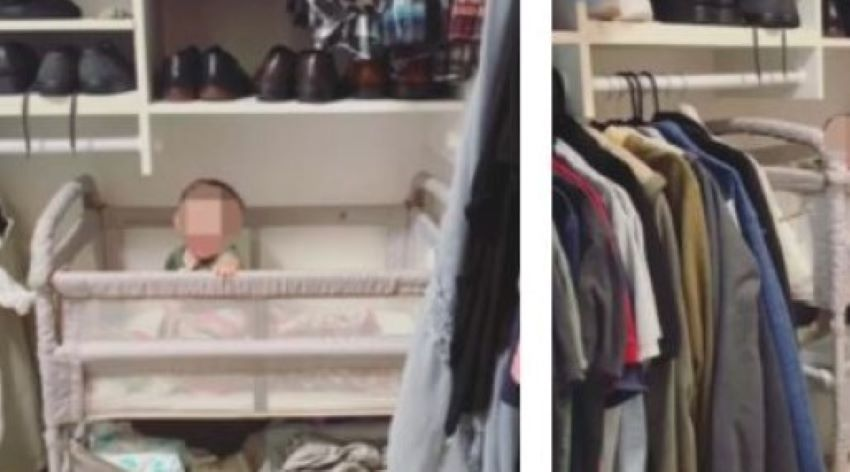 Foto: O mamă își culcă bebelușul într-un dulap. Cum își motivează gestul?