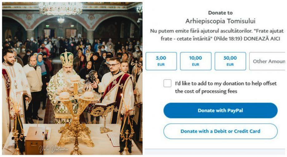 Foto: O arhiepiscopie din România a anunțat enoriașii că primește pomelnice și prin intermediul PayPal