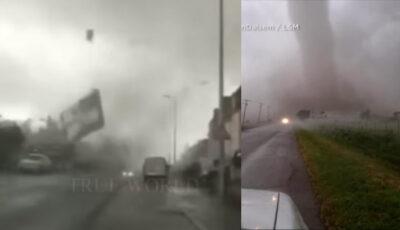 Video! O tornadă violentă a devastat Italia. Persoane rănite, drumuri închise