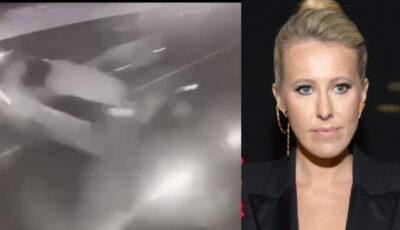 Te trec fiorii! Momentul accidentului în care a fost implicată Ksenia Sobchak, surprins de o cameră de supraveghere