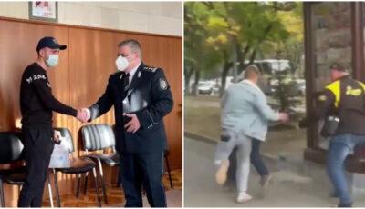 Doi bărbați din Capitală au primit diplome de merit din partea polițiștilor, după ce au reținut un hoț